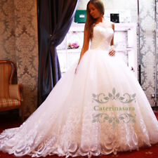 bridal Ball gown puffy skirt gorgeous lace long train swetheart wedding dress