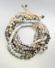 Urban Anthropologie Marble Agate Creme Silver Crystals Wrap Bracelet Necklace