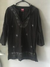 Lds/girls Black Hippy Style Cotton Kaftan Tunic Shirt Silver Embroidery Sz 12