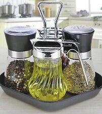 5 Teilige Menage Set aus Edelstahl Ölspender Essigspender Salz & Pfefferstreuer