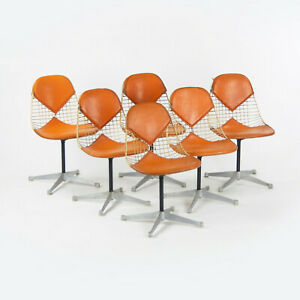 C. 1961 Set of 6 Herman Miller Eames Orange Bikini Pad Swivel PKC2 Dining Chairs