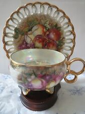 Royal Sealy China-Japan-Lustre Teacup and Reticulated Saucer - Fruit