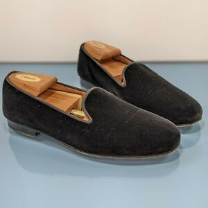 STUBBS & WOOTTON Palm Beach Mens 9 Black Velvet Leather Loafers Slippers Shoes