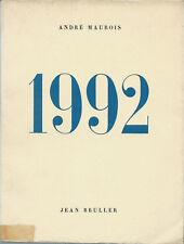 EO N° ANDRE MAUROIS + 17 BOIS GRAVÉS DE JEAN BRULLER + BELLE DÉDICACE : 1992