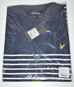 Lyle & Scott Navy White Breton Stripe TShirt Size UK Medium TS700mm Z99 NEW TAGS