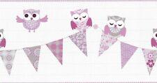 HAPPY KIDS CHILDRENS GIRLS BIRD OWL PURPLE QUALITY WALLPAPER BORDER  05586-10