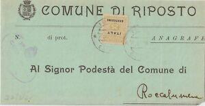 1944 SICILIA OCCUPAZIONE AGLO-AMERICANA 25C ISOLATO SU BUSTA DA RIPOSTO X ROCCAL