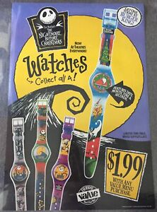 1993 cardstock Burger King promo poster ~ NIGHTMARE BEFORE CHRISTMAS WATCHES