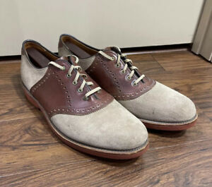 Vintage Made In USA Walk Over Suede Buck Saddle Shoes Brick Sole Size 11.5 D/B