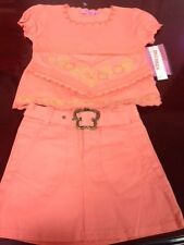 Trendy Girl 2-Piece Stretch Outfit Set w Embroidered Shirt & Skirt Sz 24M, NWT