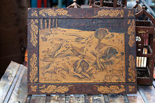 """Rare 1900s Pyrography Wood Art the """"Hunting Dogs"""" by Antique Flemish Art Co. NY"""