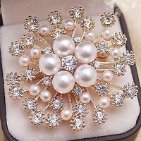 Vintage Gold Flower BROOCH Pin Crystal Rhinestone Bridal Pearl Broach Wedding