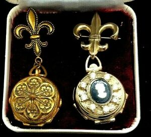 -2 VINTAGE GOLD TONE 4-WAY PICTURE HANGING LOCKET PINS  1 SIGNED CORO