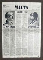 Giornale WWII - Malta - Serie romana - N. 58 - 1 novembre 1942 - RARO