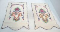 Vintage Set of Two Cross Stitch Doilies Hand made