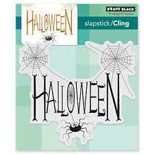 New Penny Black SPIDERY WISHES Slapstick Cling Rubber Stamp Halloween SpiderWeb