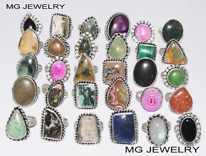 Bulk Sale ! 10 Pcs Mix Adjustable Rings Lot Gemstone 925 Sterling Silver Plated