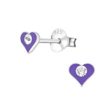 CHILDRENS Girls Sterling Silver Purple HEART Stud Earrings Boxed