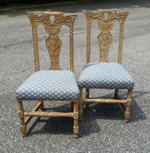 Vintage Pair of Western / Mexican Hacienda style Carved Ranch Oak Side Chairs
