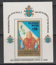 Philippine Stamps 2006 Pope John Paul 11 First Death Ann. Ovpt on 1981 ss
