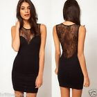 AU Women Hot Sexy Mini see through Lace Black Clubbing Cocktail Party Dress