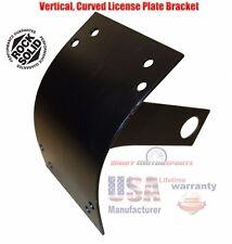 Motorcycle Side Mount License Plate Bracket Holder Curved Vertical Steel