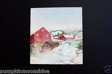 # I 517- RARE Vintage Unused Tasha Tudor Xmas Greeting Card Country Water Wheel