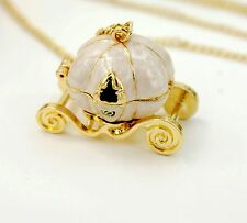Vintage gold tone pumpkin carriage locket necklace