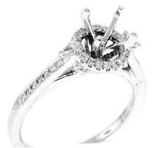 Halo Engagement Semi Mount Ring Setting Diamond VS1 Pear 18k White Gold 0.47ct