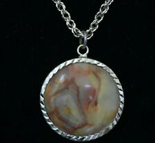 BEAUTIFUL STERLING SILVER NECKLACE - 16 INCH - AGATE PENDANT LARGE