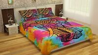 Handmade Cotton Queen Size  Elephant Bedpread With Pillows Ethnic Indian Decor