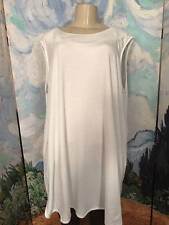 ROAMAN'S PLUS 1X NEW WHITE ROUND NECK COTTON V-BACK BLEND SLEEVELESS TUNIC TOP