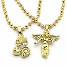 Men Gold Plated Prayer Hand Angel Piece Combo Iced Out Cz Pendant Chain Necklace