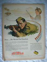 VTG 1944 Orig Magazine Ad Western Cartridge Co Now He Shoots for FREEDOM
