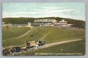 Chichester—Goodwood Course & Grandstand—West Sussex Antique England HORSE Cart