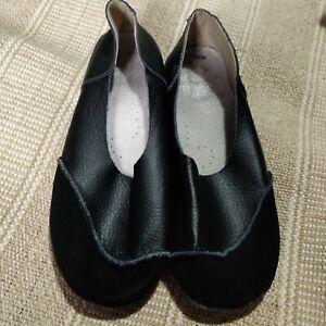 Black Leather Flat Pumps Shoes Size 39 6