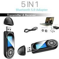 5 in1 Bluetooth Audio Transmitter Receiver LCD USB Adapter PC For TV AUX G3U1