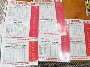 Chicago Bulls 1974-75 basketball Scorecard lot of (5): Lakers, Pistons, Knicks +
