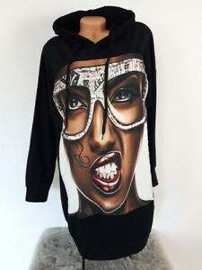 MADE IN ITALY POP ART Oversized Hoodie Pullover 80er BAD GIRL 36 38 40
