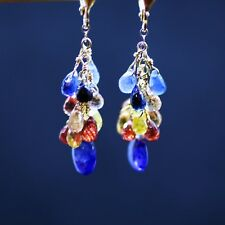 Cascade Natural Multi Gem Sapphire Earrings Solid 18K Gold 5th 45th Anniversary