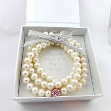 Freshwater Pearl Triple Strand October Birthstone Pink Stretch Bracelet NEWinBOX
