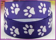 1 x metre, PURPLE DOG PAWS, 22mm, Ribbon, 7/8, Grosgrain, Sewing, Collar, Lead