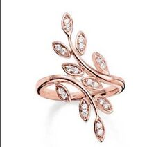 NEW Genuine Thomas Sabo 925 Silver Rose Gold CZ Leaves Ring TR2017 Size 56 £149