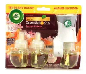 1 Pack Air Wick 2.02 Oz Summer Delights 3 Count Scent Oil Refill & 1 Warmer