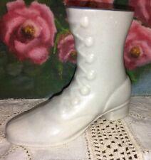 """Vintage Ceramic Boot White Gray Blue 3.5""""Tall Vase"""
