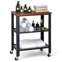 Industrial Serving Cart 3-Tier Kitchen Utility Cart on Wheels w/Shelf Black