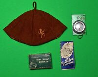 Vintage Girl Scout Brownie Beanie Cap & Silva Compass W/ Box Instructions