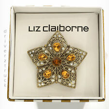 LIZ CLAIBORNE New in Gift Box GOLD STAR BROACH Pin CLEAR & AMBER Faux CRYSTALS