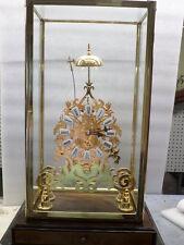 24K Rococo Skeleton Clock-Porcelain Cartouche Dial & Chain Fusee