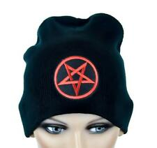 Red Woven Pentagram Beanie Occult Black Metal Cap Ritual Satanic Goth Alterantiv